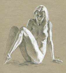 Sinister looking nude girl